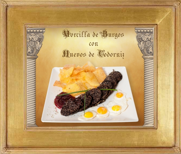 Morcilla de Burgos con huevos de Codorniz.