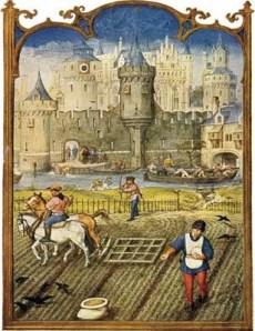 Campesinos cultivando en la Edad Media